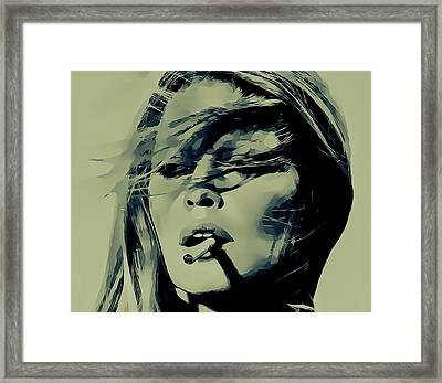 Brigitte Bardot Smoking Framed Print