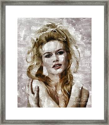 Brigitte Bardot, Vintage Actress Framed Print by Mary Bassett
