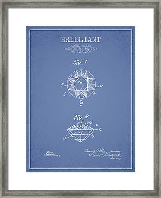 Brilliant Patent From 1919 - Light Blue Framed Print by Aged Pixel