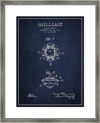 Brilliant Patent From 1919 - Navy Blue Framed Print by Aged Pixel