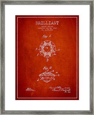 Brilliant Patent From 1919 - Red Framed Print by Aged Pixel