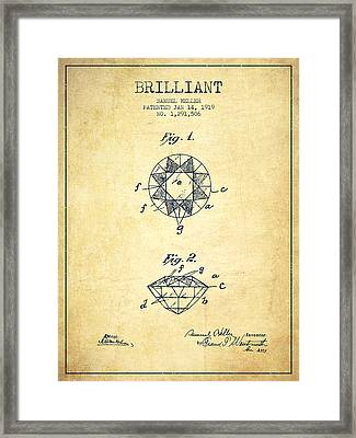 Brilliant Patent From 1919 - Vintage Framed Print by Aged Pixel