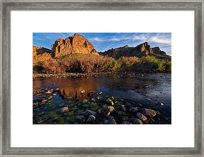 Framed Print featuring the photograph Brilliant Salt River Colors At Sunset by Dave Dilli