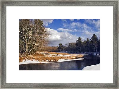 Brilliant Sky Snowy Brook Framed Print by Frank Winters
