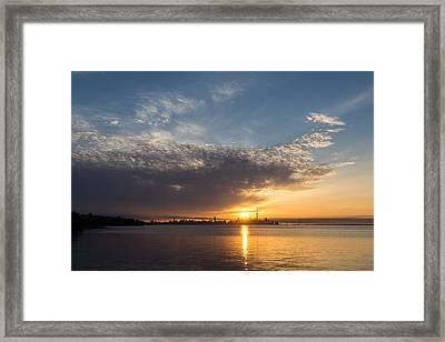 Brilliant Toronto Skyline Sunrise Over Lake Ontario Framed Print by Georgia Mizuleva