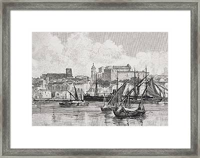 Brindisi Italy The Harbour From The Framed Print by Vintage Design Pics
