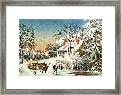 Bringing Home The Logs Framed Print