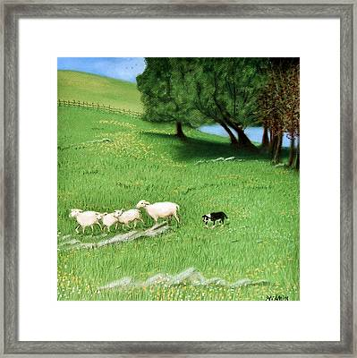 Framed Print featuring the pastel Bringing Them In  by Jan Amiss