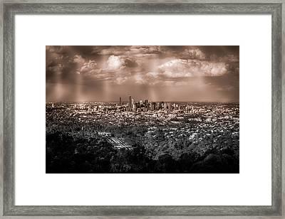 Brisbane Cityscape From Mount Cootha #4 Framed Print by Stanislav Kaplunov