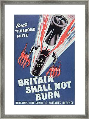 Britain Shall Not Burn Framed Print by English School