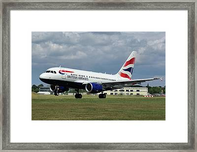 Framed Print featuring the photograph British Airways A318-112 G-eunb by Tim Beach