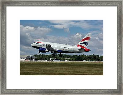 Framed Print featuring the photograph British Airways Airbus A318-112 G-eunb by Tim Beach