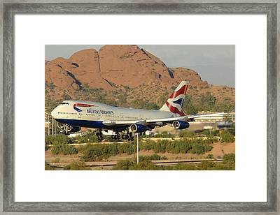 British Airways Boeing 747-436 G-civa Phoenix Sky Harbor October 26 2010 Framed Print