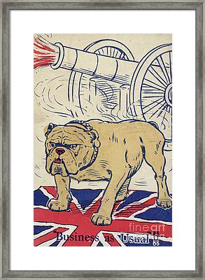 British Bulldog Stading On The Union Flag And With A Cannon Firing Framed Print by English School
