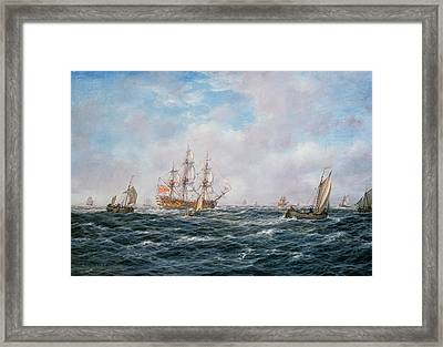 British Man-o-war And Other Craft Framed Print by Richard Willis