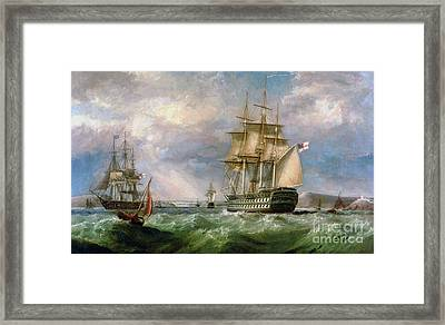 British Men-o'-war Sailing Into Cork Harbour  Framed Print by George Mounsey Wheatley Atkinson