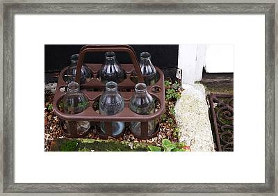 British Milkbottles Framed Print by Nancy Clendaniel