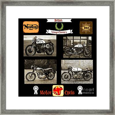 British Motorcycle - Vintage Framed Print by Ian Gledhill