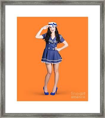 British Navy Blue Pin Up Girl Saluting Framed Print