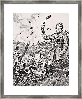 British Officer Hurling Grenades From Framed Print