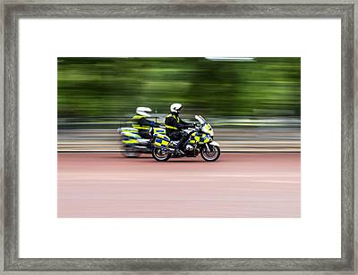 British Police Motorcycle Framed Print