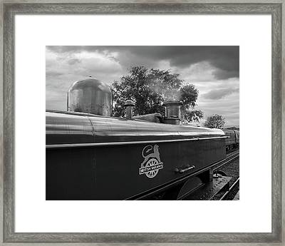 British Railways Steam Train Mono Framed Print by Gill Billington