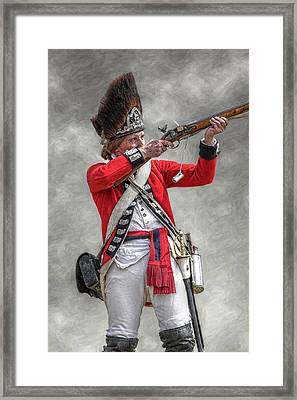 British Redcoat Firing Musket Portrait  Framed Print by Randy Steele
