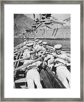 British Sailors Rowing Framed Print by Underwood Archives