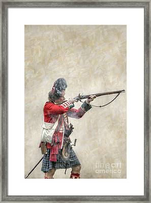 British Soldier Firing Musket Framed Print