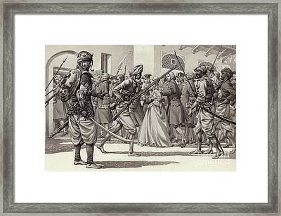 British Soldiers Are Forced Into The Black Hole Of Calcutta Framed Print by Pat Nicolle