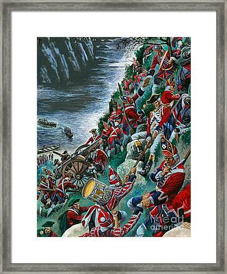 British Soldiers Make The Arduous Ascent Of The Heights Of Abraham To Take Quebec Framed Print by Peter Jackson