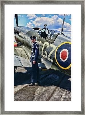 British Spitfire And Pilot Framed Print