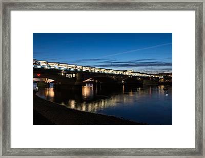 British Symbols And Landmarks - Blackfriars Railway Bridge In London England Framed Print by Georgia Mizuleva