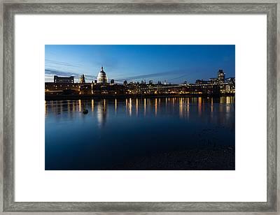 British Symbols And Landmarks - Saint Pauls Cathedral Blue Hour Reflections Framed Print by Georgia Mizuleva