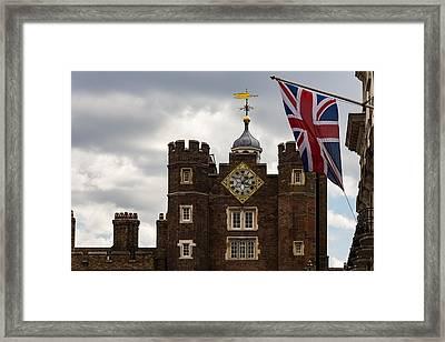 British Symbols And Landmarks - Union Jack And The Pearly Clock Framed Print by Georgia Mizuleva
