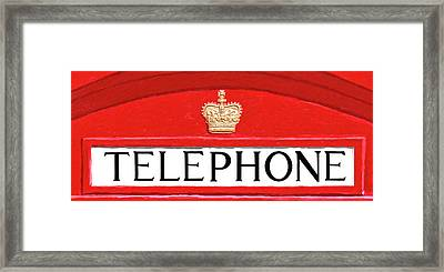 Framed Print featuring the mixed media British Telephone Box Sign by Mark Tisdale