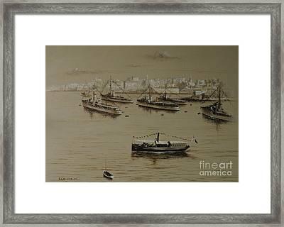 British Warships In Malta Harbour 1941 Framed Print
