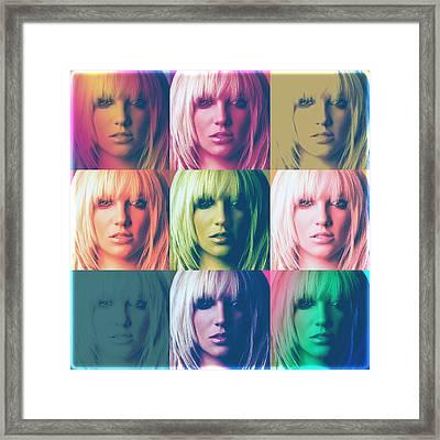 Britney Spears Pastel Warhol By Gbs Framed Print by Anibal Diaz