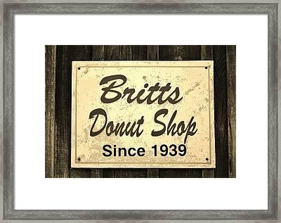 Britt's Donut Shop Sign 3 Framed Print