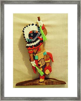 Broad Faced Kachina Framed Print by Russell Ellingsworth