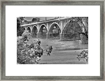 Gervais Street Bridge Black And White Framed Print