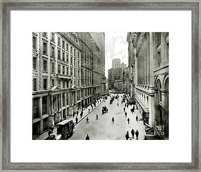 Broad St South Of Wall Street 1911 Framed Print by Jon Neidert