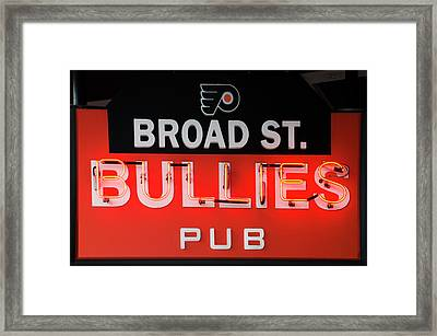 Broad Street Bullies Sign Framed Print by Bill Cannon