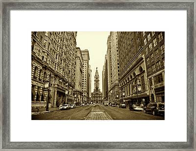 Broad Street Facing Philadelphia City Hall In Sepia Framed Print