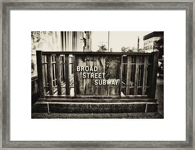 Broad Street Subway - Philadelphia Framed Print by Bill Cannon