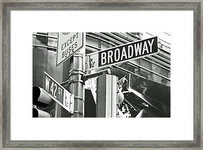 Broadway And 42nd Framed Print by Sharla Gentile