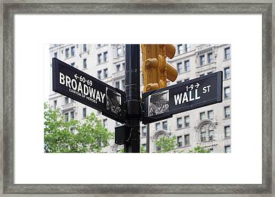 Broadway And Wall Street Street Sign 2 Framed Print by Nishanth Gopinathan