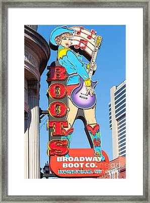 Broadway Boot Company Sign I Framed Print by Clarence Holmes