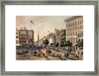 Broadway In The Nineteenth Century Framed Print