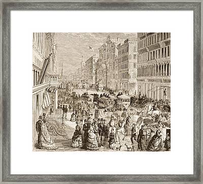 Broadway New York Looking North In Framed Print
